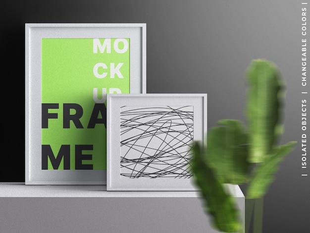 Poster bilderrahmen leinwand innenmodell mit pflanzendekoration isoliert