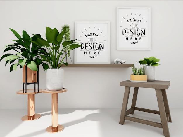 Poster frame mockup an der wand mit pflanze