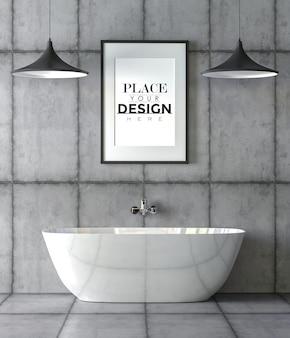 Poster frame mockup auf badezimmer interieur