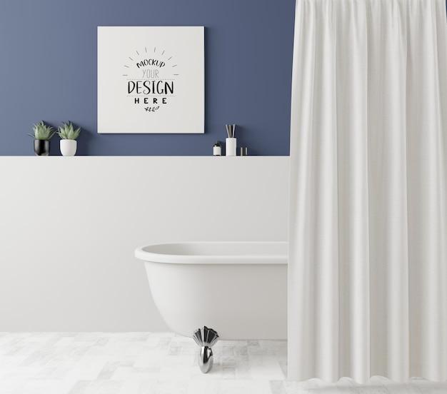 Poster frame mockup auf waschraum interieur