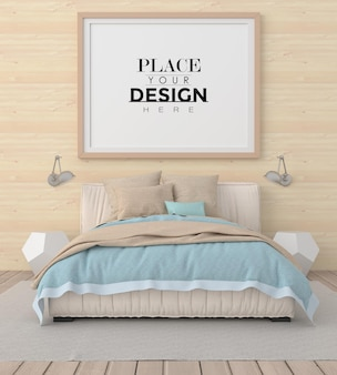 Poster frame mockup in einem schlafzimmer