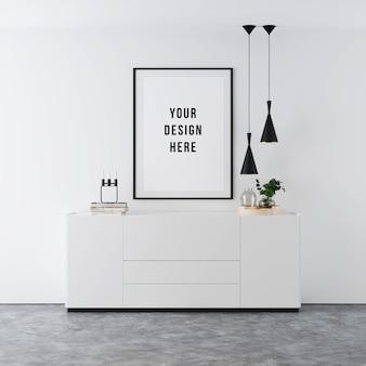 Poster frame mockup interieur mit dekorationen
