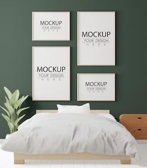 Poster frames mockup in einem schlafzimmer