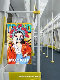 Poster-mockup-design in 3d-rendering in öffentlichen verkehrsmitteln