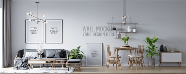 Poster mockup & wall mockup interior skandinavischen wohnzimmer & esszimmer hintergrund