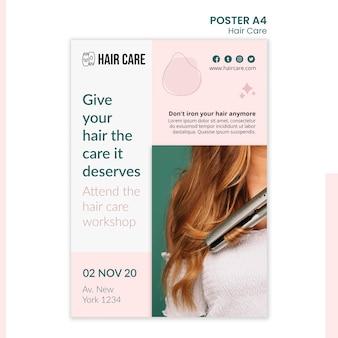 Poster-vorlage für haarpflegetechniken