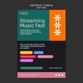 Poster-vorlage für musik-streaming-plattform