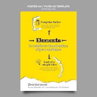 Poster-vorlage für storytelling-elemente