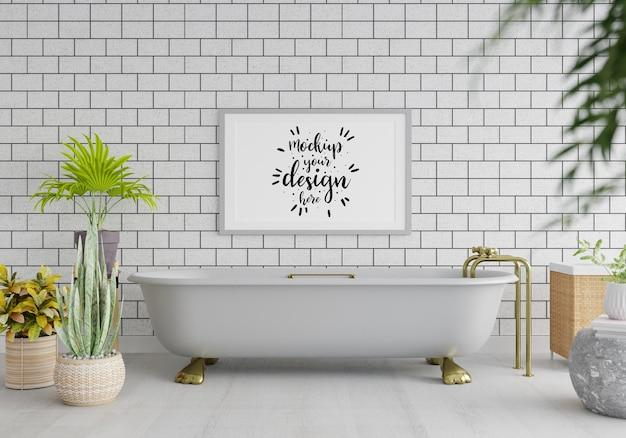 Posterrahmen mockup interieur in einem badezimmer