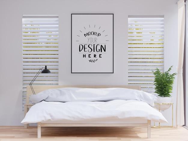 Posterrahmen-mockup-interieur in einem schlafzimmer