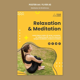 Postervorlage für meditation und achtsamkeit