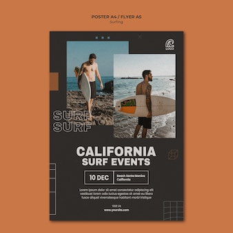 Postervorlage für surfereignisse in kalifornien
