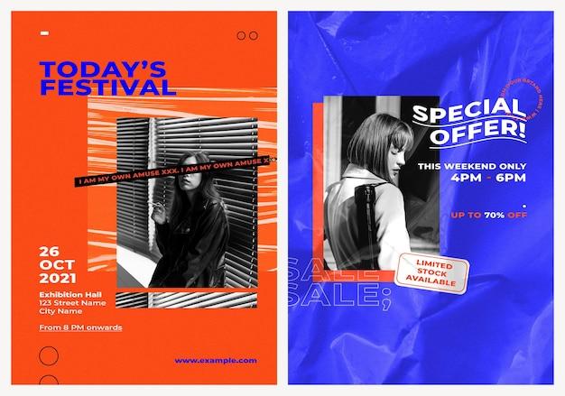 Postervorlagen psd-set für modeanzeige und verkauf mit retro-farbhintergründen für mode- und trends-influencer-konzept