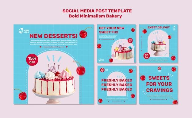 Postvorlage für soziale medien in der bäckerei