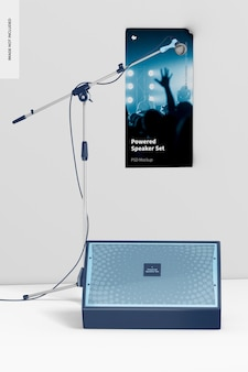 Powered speaker, poster und mikrofon mockup