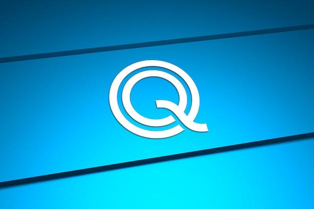 Prägen sie logo-modell auf blauer platte