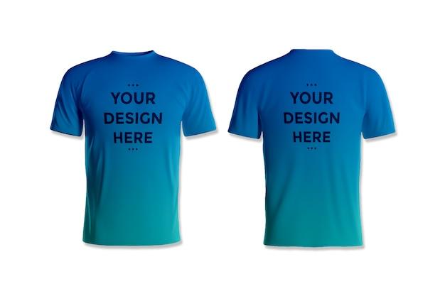 Präsentieren sie ein t-shirt-modell mit vorder- und rückseite