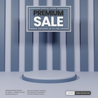Premium einfaches podium mit grauer farbe