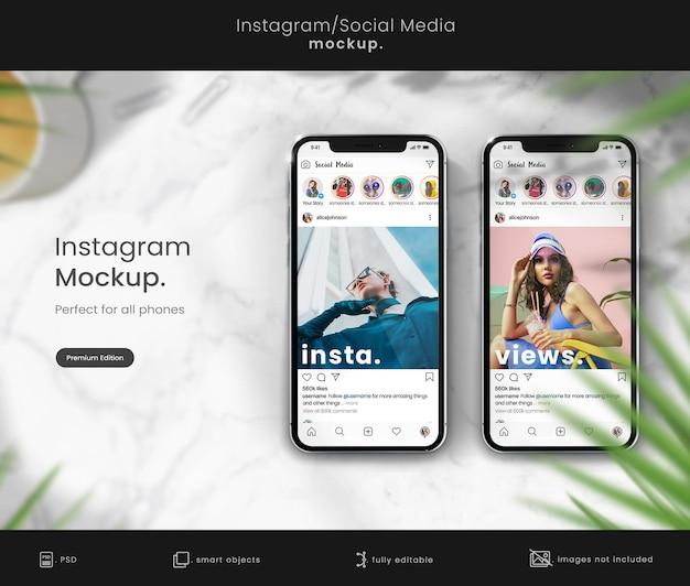 Premium instagram mockup auf dem telefonbildschirm
