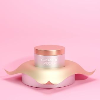 Premium-kosmetikglasbehälter-modellschablone auf minimalem goldhintergrund