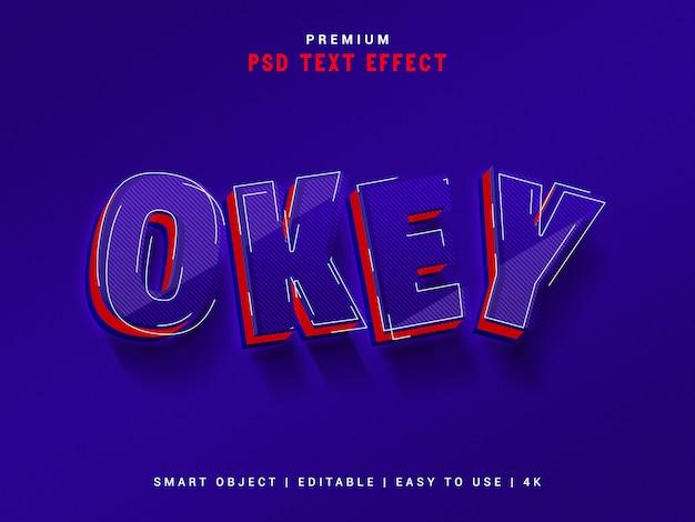 Premium okey texteffekt, realistisches 3d-modell