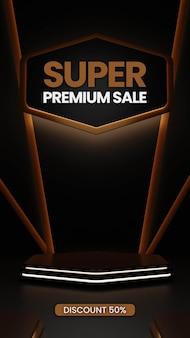 Premium-podium mit neon