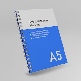 Premium single office hardcover spiral binder tagebuch notebook mock up design-vorlage in front perspective view fliegen