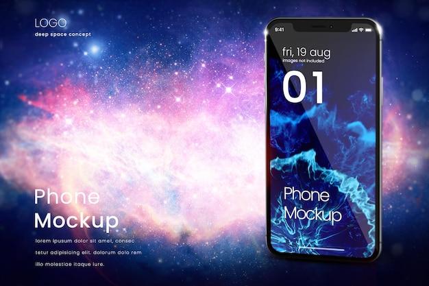 Premium-smartphone-modell auf sternenklarem hintergrund