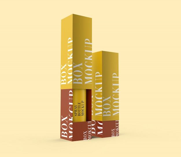 Premium sprühflasche & box mockup