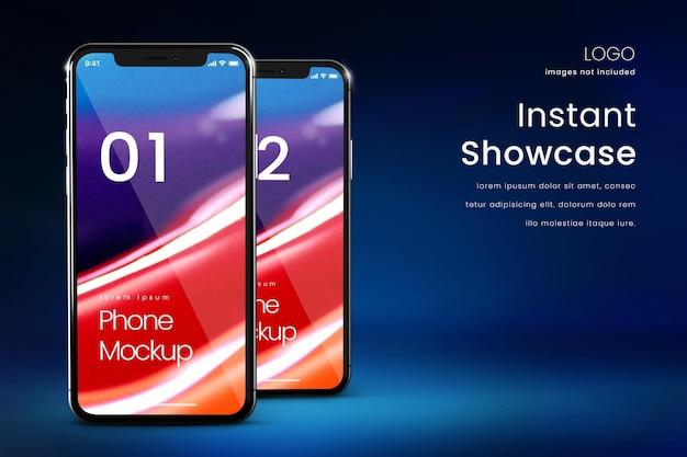 Premium-telefonmodell auf dunkelblauem hintergrund