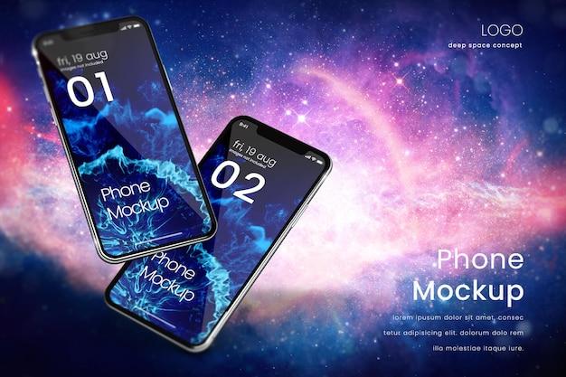 Premium-telefonmodell auf sternenklarem hintergrund