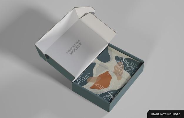 Produktbox mit dekoriertem papier mockup design