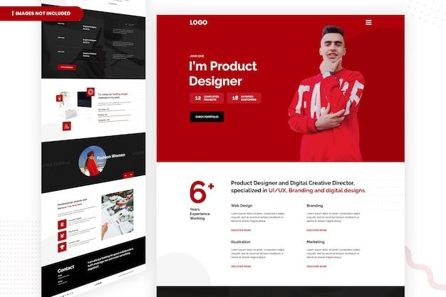 Produktdesigner und digitale kreative website-seite