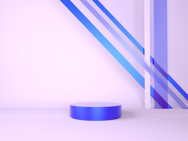 Produktpodest auf abstraktem minimalem geometriekonzept des pastell 3d