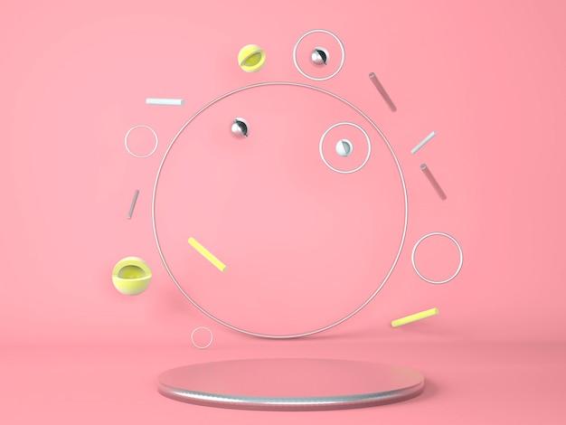 Produktpodest auf abstraktem minimalem geometriekonzept des pastellhintergrundes