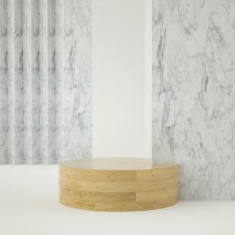 Produktpodest aus sauberem weißgold, goldrahmen, gedenktafel, abstraktes minimalkonzept, leerzeichen, sauberes design, luxus. 3d-rendering