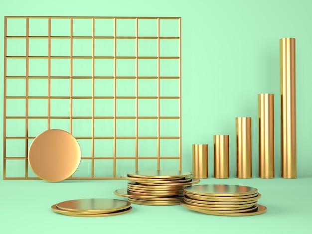 Produktpodest mit geld auf pastellhintergrundpräsentationsstufe