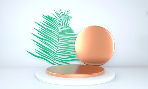 Produktpräsentationspodest verziert mit blättern auf pastellfarbenem hintergrund, 3d-darstellung