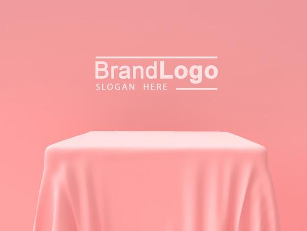 Produktständer und rosa tischdecke