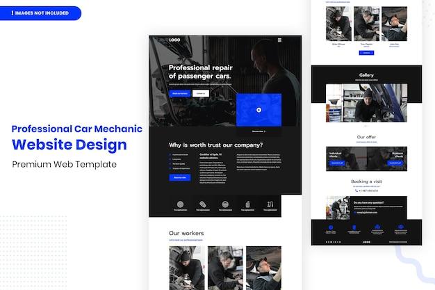 Professionelle automechaniker website seite design-vorlage