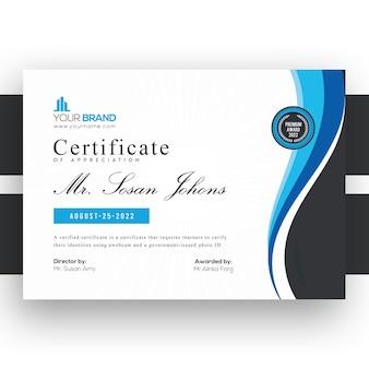 Professionelle blaue business-zertifikatsvorlage