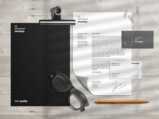 Professionelle corporate business identity briefpapier modellvorlage und szenenersteller mit briefkopf und visitenkarten