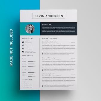 Professionelle layout-vorlage für das design von lebensläufen
