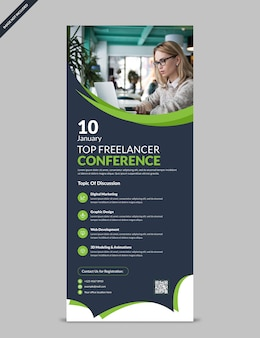 Professionelle moderne konferenz rollen oben fahnenschablone
