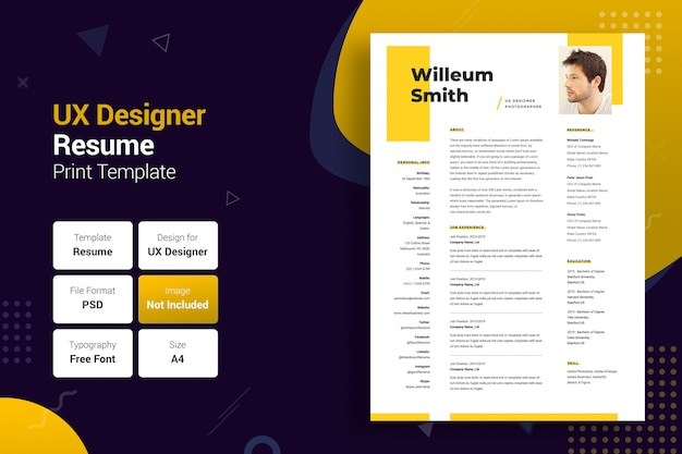 Professionelle uxer yellow & black resume-vorlage
