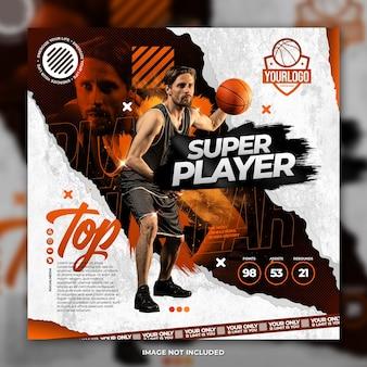 Professioneller basketballspieler flyer social media post vorlage orange hintergrund