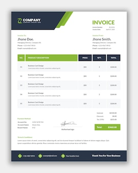 Professionelles design von geschäftsrechnungsvorlagen