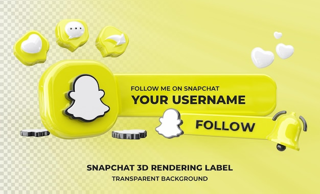Profil auf snapchat 3d rendering isoliert