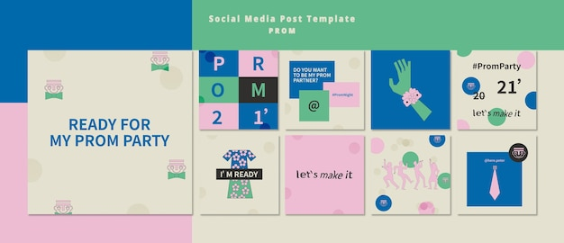 Prom party instagram posts pack