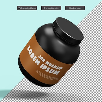 Proptein jar mockup in 3d-rendering